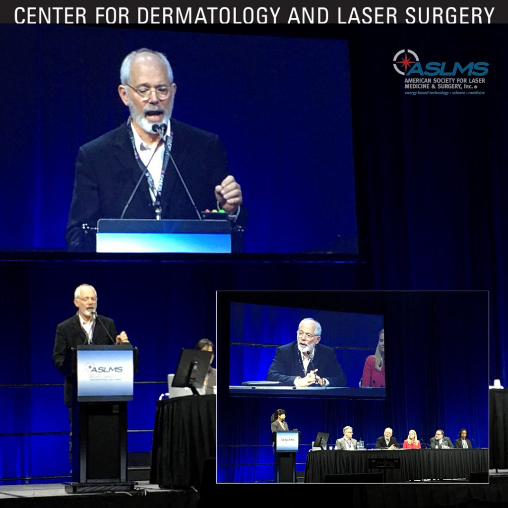 Dr. Tanghetti at the podium at the ASLMS conference