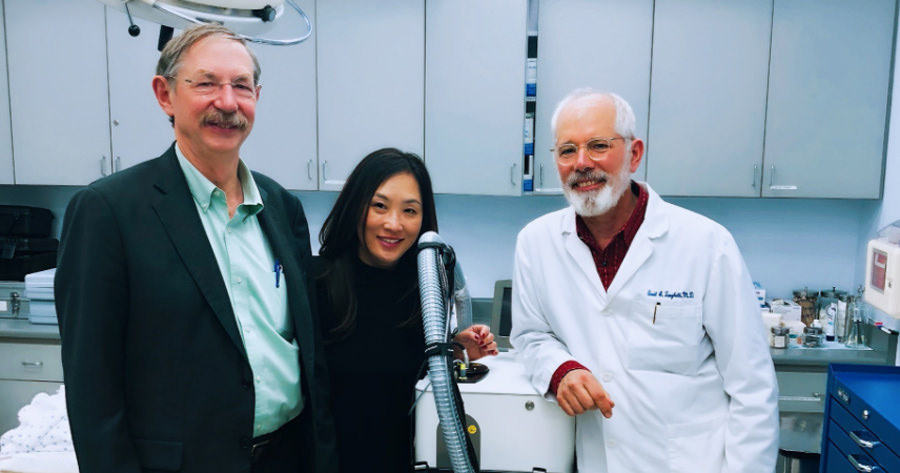Dr. Tanghetti with Rox Anderson M.D., FAAD, and his colleague Fernanda Sakamoto, Ph.D., M.D.,